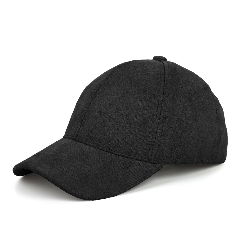 7b9b7d928510f8 JOOWEN 6 Panel Faux Suede Baseball Cap Classic Adjustable Soft Plain Hat  (Black) at Amazon Men's Clothing store: