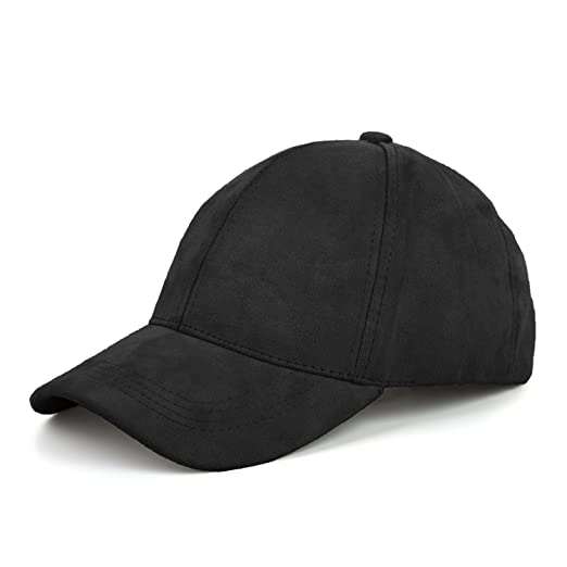 c145f0719ad JOOWEN 6 Panel Faux Suede Baseball Cap Classic Adjustable Soft Plain Hat ( Black)
