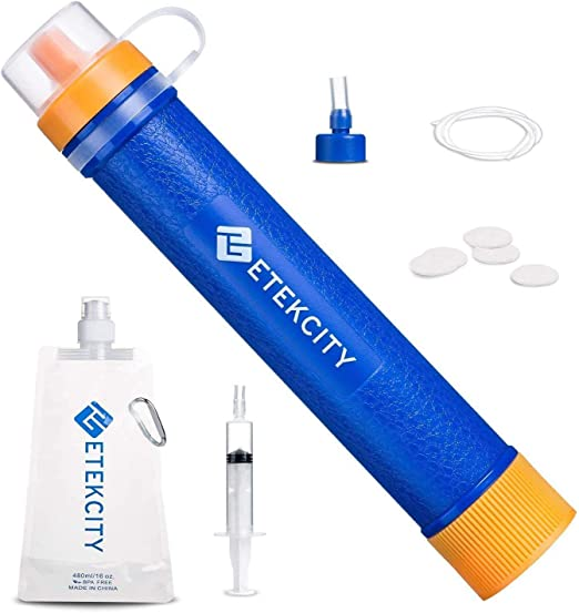 Auveach 2 Pack Portable Water Filter Straw Gear Suction Pipe Purifier Camping Hiking Emergency Life Survival Tool