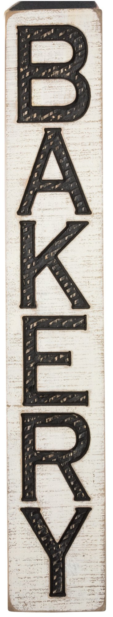 Vintage Carved Bakery Sign with Rough Painted Finish - 32-in