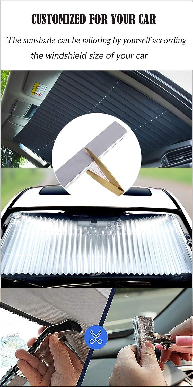 Parasole Automatico con Ventose Applicare Auto Piccola//Media 27.6 in Protezione Parasole Grande blocca Raggi UV 99/% TuNan Parasole Parasole Retrattile per Auto