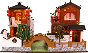 Flever Wooden DIY Dollhouse Kit, 1:24 Scale Miniature with Furniture, Dust Proof Cover and Music Movement, Creative Craft Gift for Lovers and Friends (Poems and Dreams)