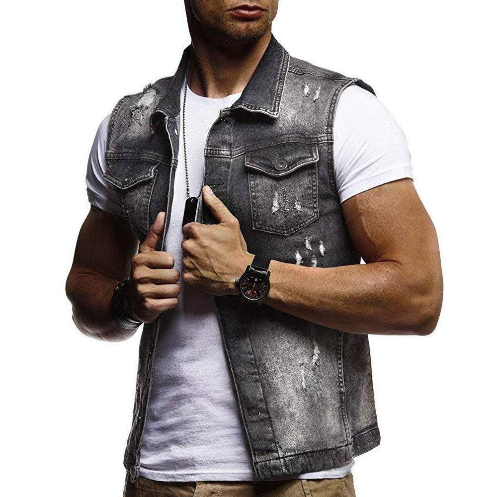 🔥 Hommes Gilet, Qingxia_Zi Multiples Poches sont Waistcoat Coton Zipper Simple T-Shirt sans Manches Veste Trou Élasticité à Boutons Vest Vintage Quotidien Tank Top Débardeurs