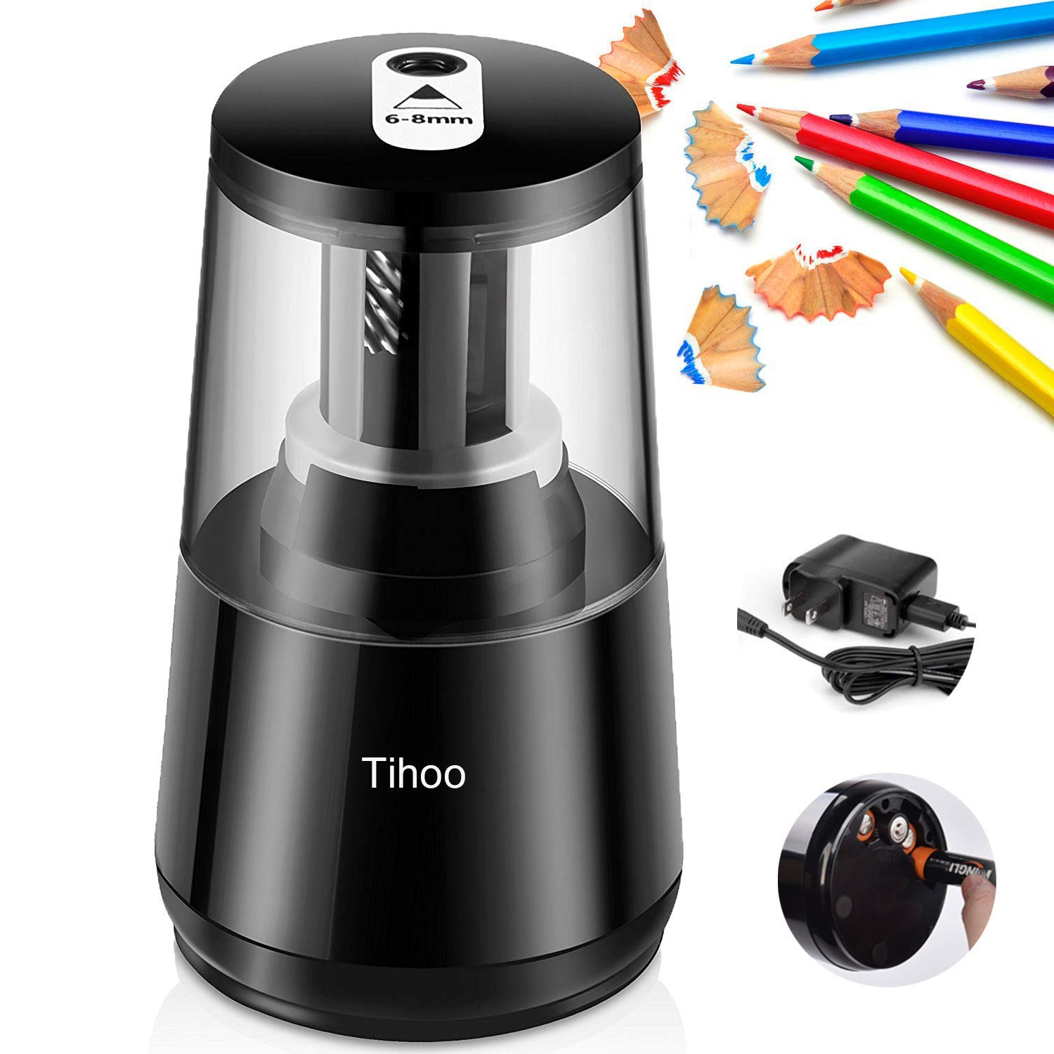 Automatic USB Portable Electric Pencil Sharpener, Spiral Steel Blade for Quick Grinding Auto-Stop Feature for Home Classroom & Office USB&Battery Operated(Black)
