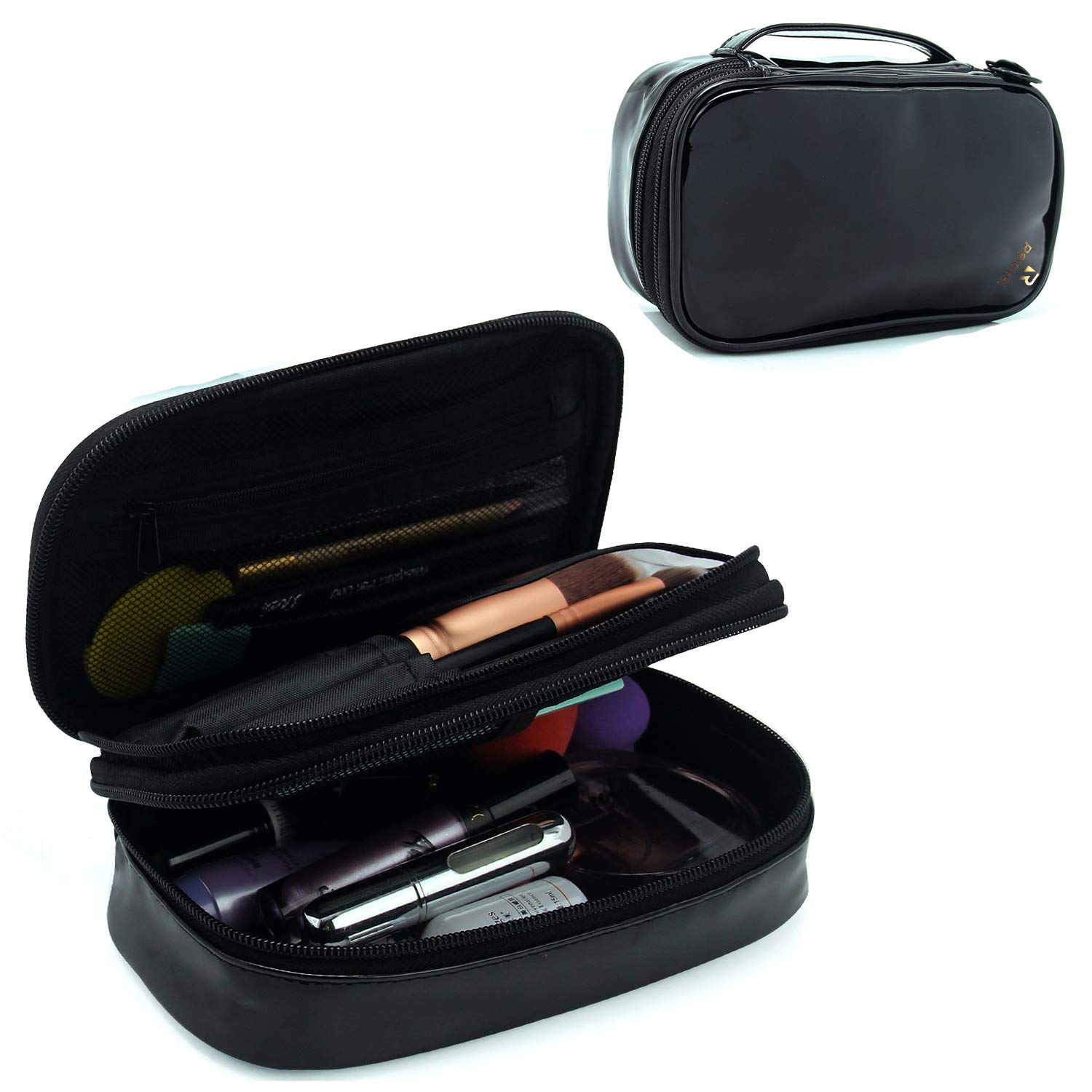 Relavel Small Makeup Bag, Relavel Travel Cosmetic Bag Makeup Brush Organizer Holder for Women Girls Black
