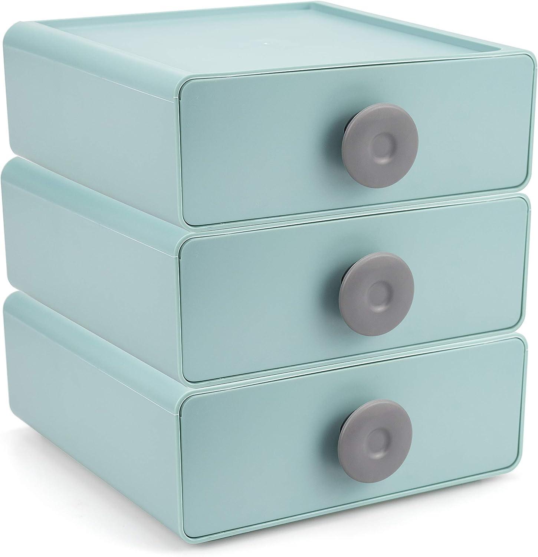 Ukwell 3-Drawer Plastic Storage Organizer Box Stackable Desktop Organization Drawers Set for Makeups, Dental Supplies, Hair Care, Bathroom, Dorm, Desk, Vanity, Office (Green)