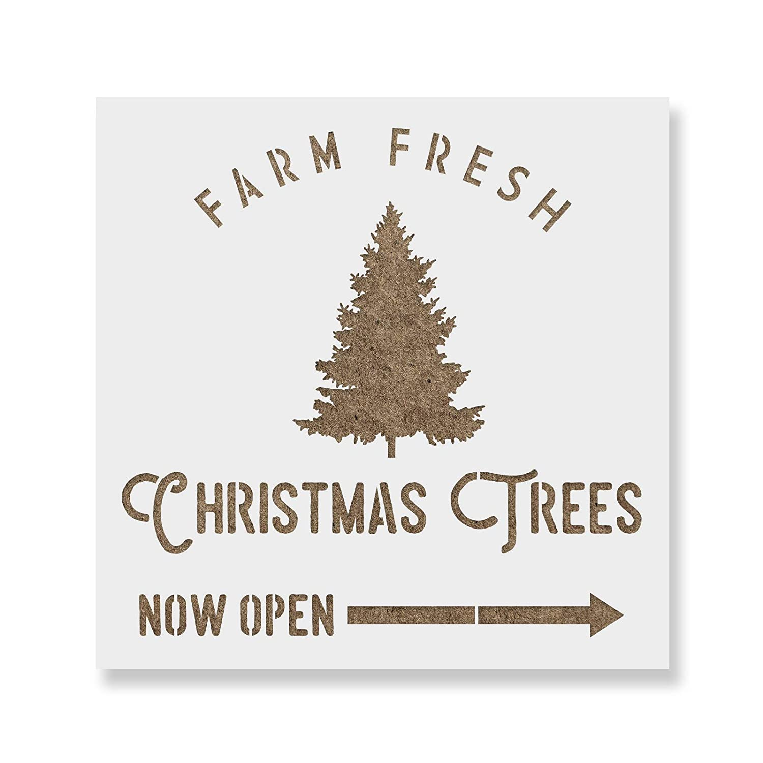 Amazon.com: Farm Fresh Christmas Trees Stencil Template - Reusable ...