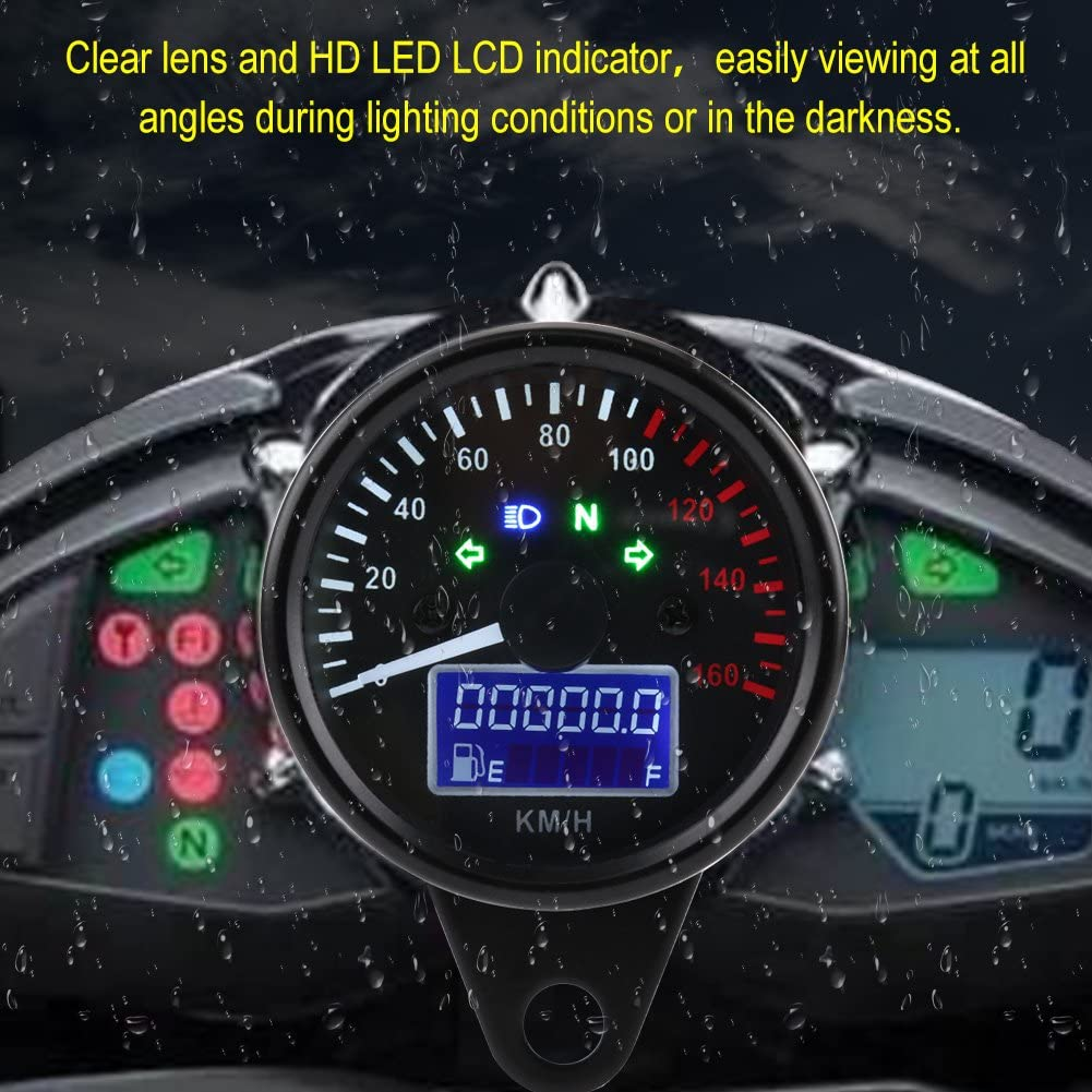 double jauge dodom/ètre avec indicateur de clignotant de phare neutre /à r/étro/éclairage LED Tachym/ètre de compteur de vitesse de moto num/érique universel