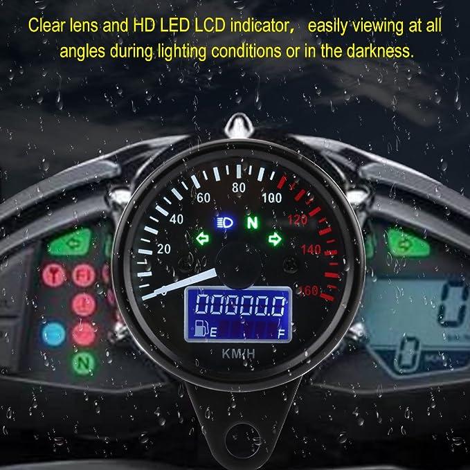 BiuZi Motorrad Tacho Universal 0~160KM H Motorrad GPS Digital LED LCD Tacho 12V Tachometer Geschwindigkeitsmesser Retro Schwarz