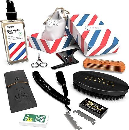 Kit barba hombre DELUXE - Sapiens - Aceite para barba fabricado en Francia 50ml 100% Natural + Navaja de Afeitar Barbero + 5 Accesorios para mantenimiento y afeitado - Regalo Cuidado Barba Hombre: Amazon.es: Belleza
