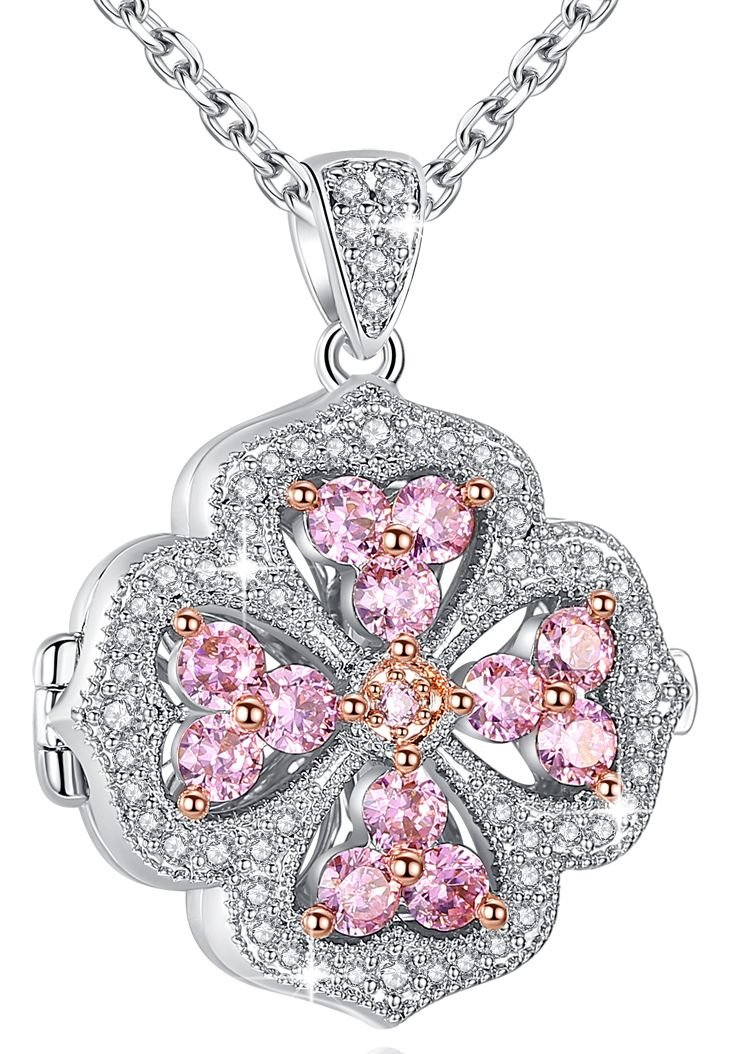 Esottia Clover Flower Silver Tone 18''+2'' Pink Locket Pendant Necklace with AAA Cubic Zirconia Photo Locket Jewelry Birthday Wedding for Women Girlfriend Wife