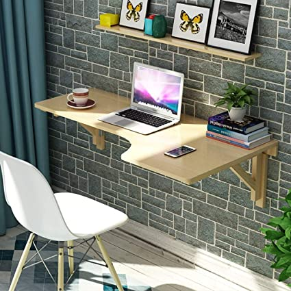 SjYsXm Floating Shelf Wooden Corner Computer Table Wall Table Folding Table  L Shaped Table