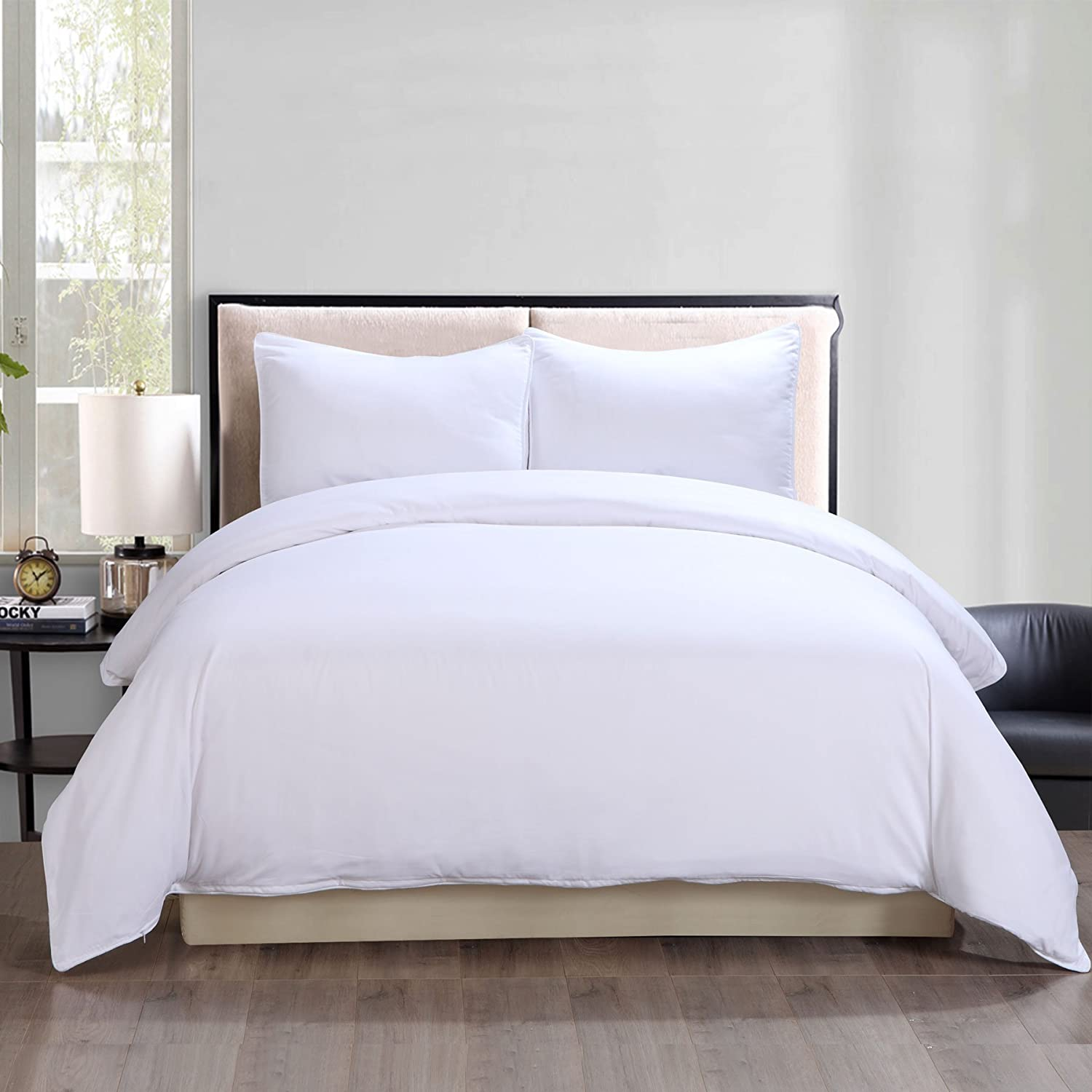 Stayclean Lotus Home Water and Stain Resistant Duvet Mini Set Full//Queen White
