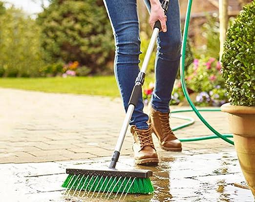 Jardín chorro de agua cepillo escoba Patio Driveway jardín Manguera 2 en 1 Limpiador de presión: Amazon.es: Jardín