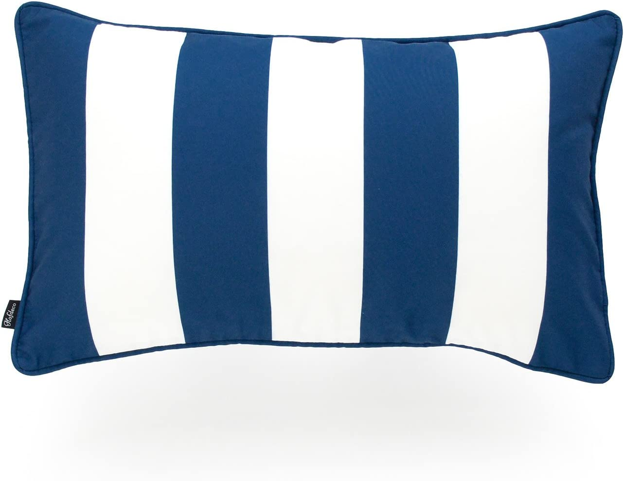 Hofdeco Indoor Outdoor Lumbar Pillow Cover Only Water Resistant For Patio Lounge Sofa Navy Blue White Stripes 12 X20 Home Kitchen