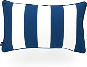 """Hofdeco Indoor Outdoor Lumbar Pillow Cover ONLY, Water Resistant for Patio Lounge Sofa, Navy Blue White Stripes, 12""""x20"""""""
