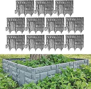Runing Pet 10 Pcs Plastic Palisade Fence,Garden Plastic Fence Edging, DIY Decorative Flower Grass Bed Border for Flower Barrier Garden Edge