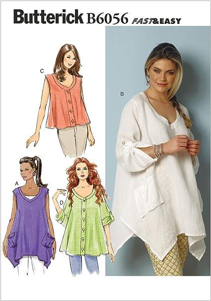 Butterick Patterns 6056ZZ - Patrones para Camisa de Mujer (L-XXL)