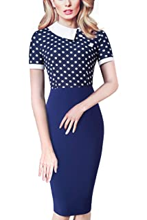 de1fa94427b87f HOMEYEE Damen Vintage Langarm Elegant Kleid Business Party Cocktailkleid  Knielanges Abendkleid B238