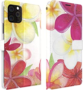 Mertak Wallet Case Compatible with iPhone 12 11 Pro Max SE Xr Xs X 8 Plus 7 6s Plumeria Cover Magnetic Tropical Folio Protective PU Leather Slim Fit Flowers Hawaii Lightweight Card Holder Flip