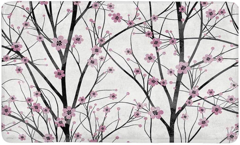 Amazon Com Interestprint Spring Pink Cherry Tree Blossom Doormat Non Slip Indoor Outdoor Door Mat Floor Mat Home Decor Entrance Rug Rubber Backing Large 30 L X 18 W Furniture Decor