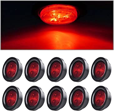 """20pcs For Truck Trailer 2.5/"""" Round 4LED Side Marker Clearance Tail Light Kit Red"""