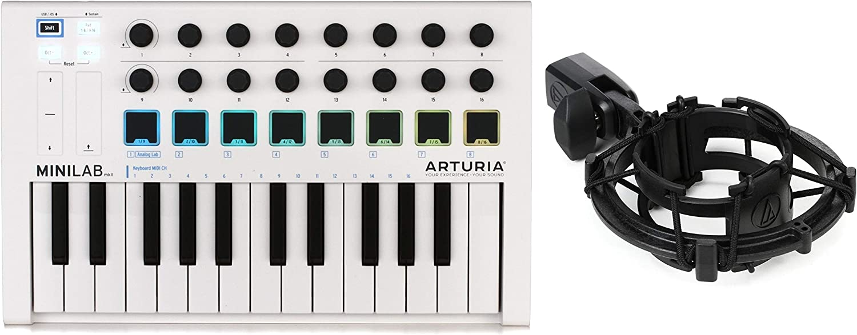 Audio-Technica AT8458a Microphone Shock Mount Value Bundle Arturia MiniLab MkII 25 Slim-key Controller