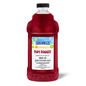 Coolbreeze Beverages Frozen Drink Flavor Mixes - Frozen Beverage Machine or Home Blender Use - Ready To Use Margarita Daiquiri Granita Slush Bar Mixers - 1/2 Gallon Bottle (Rum Runner)