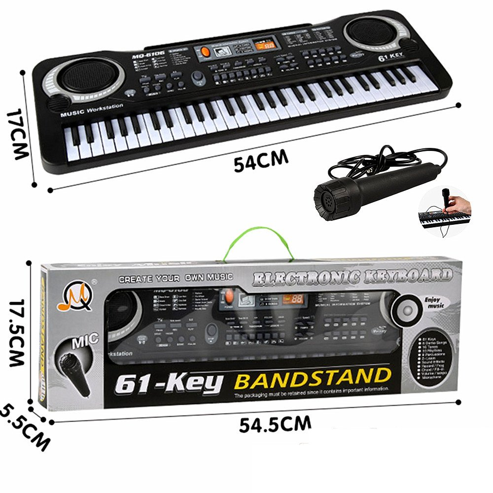 61 Key Keyboard Piano For Kids ,Children Portable Electric Organ ,Music Electronic Keyboards Piano Educational Toy For Boy Girls, Melody 61 Beginner keyboard Bundle w/ adaptor Microphone (BLACK-1)