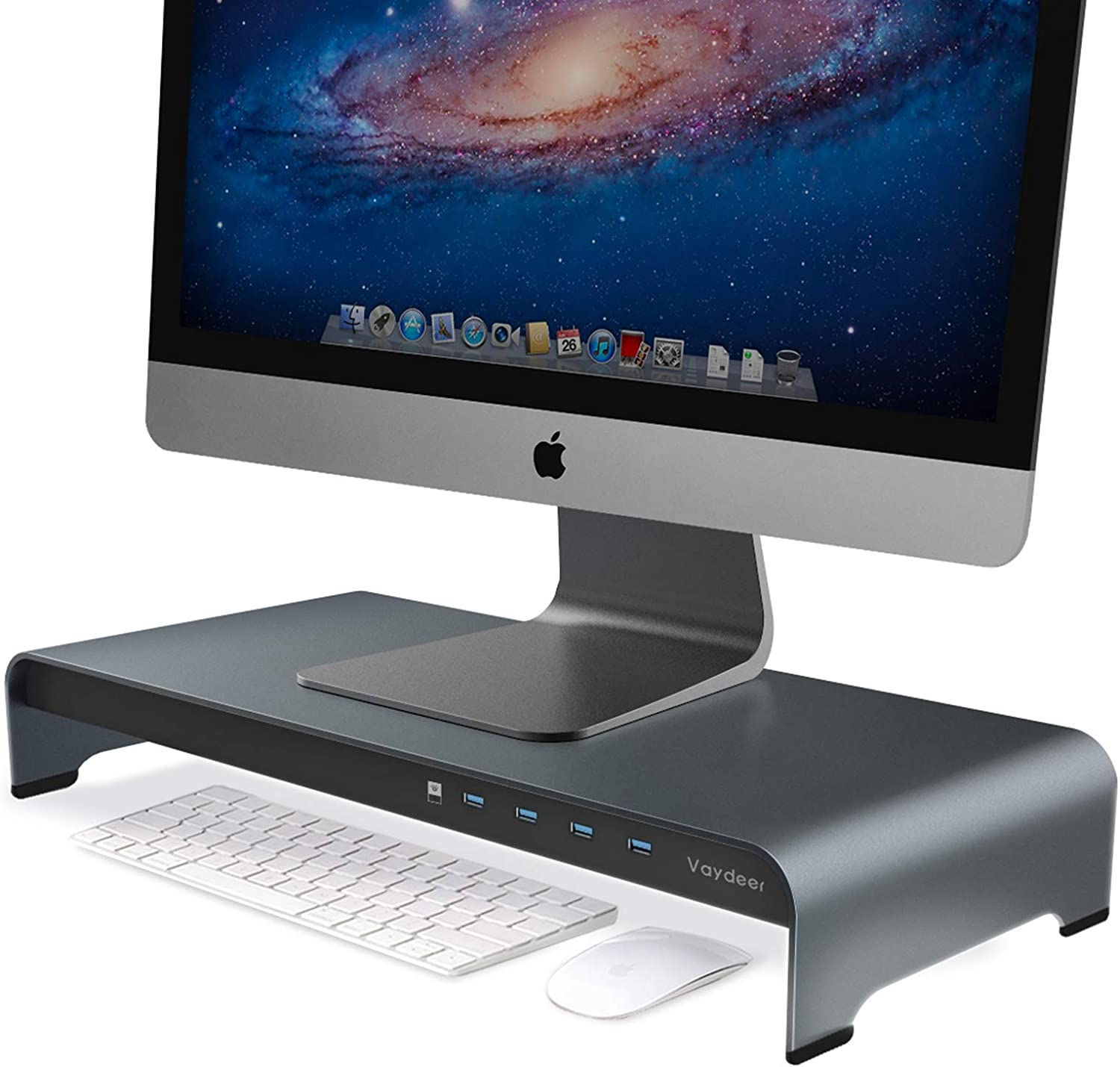 VAYDEER Aluminum Monitor Stand Riser with 4 USB Ports Support Data Transfer, Keyboard and Mouse Storage Desk Organizer up to 32 inch for Computer PC Monitor and laptops(Gray)