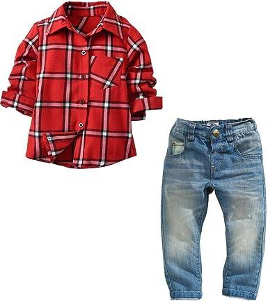 QTONGZHUANG Camisa de Manga Larga a Cuadros de Niño Pantalones de Mezclilla de Niños Pantalones de Camisa de Dos Piezas para Niños: Amazon.es: Ropa y accesorios