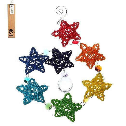 H & D Pentagram lámpara de araña pelota de cristales colgante de Prism Rainbow eléctrica Chakra Cascade cairel