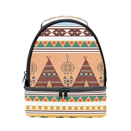 777c2940700e Amazon.com - HEOEH North American Indian Pattern Lunch Bag Insulated ...