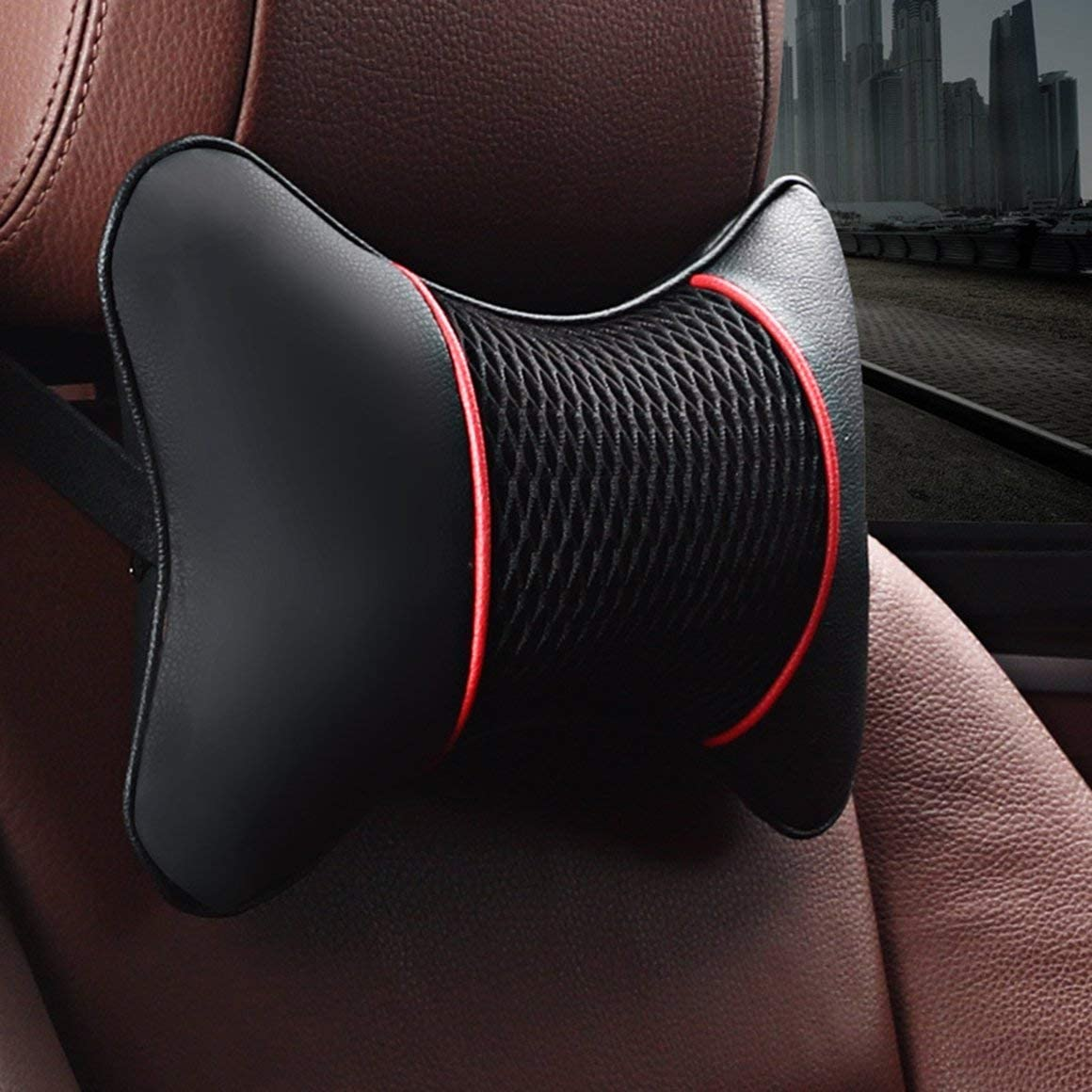 Paperllong/® Leather Car Seat Neck Pillow Head Protector Safety Auto Headrest Support Backrest Cushion Pillows Neck Rest