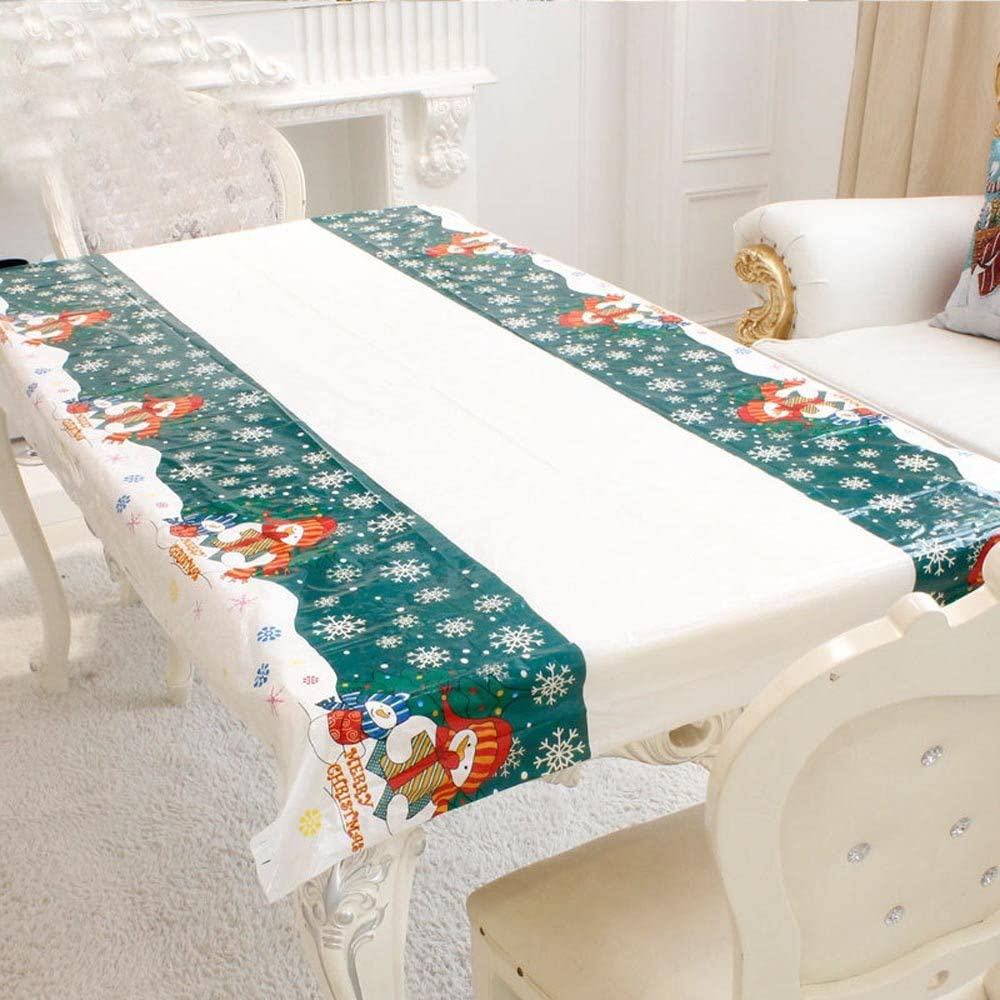 "Christmas Tablecloth Rectangular PVC Disposable Table Cloth for Kitchen Dining Table Decorations New Year Home Party Table Covers Christmas Ornaments 70"" X 43"" Oblong (Snowman)"