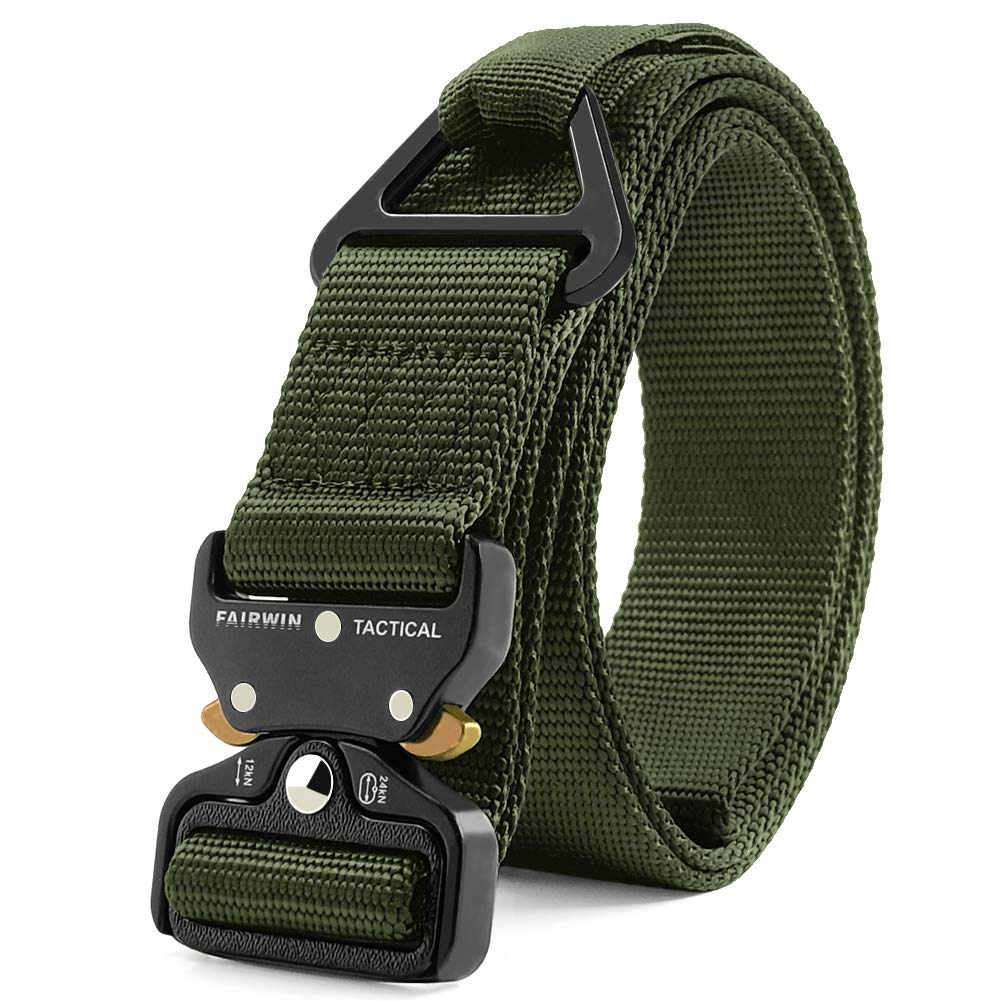 Fairwin Tactical Rigger Belt, Nylon Webbing Waist Belt with V-Ring Heavy-Duty Quick-Release Buckle (Green, S(Waist 30''-36''Width 1.5'')) by Fairwin