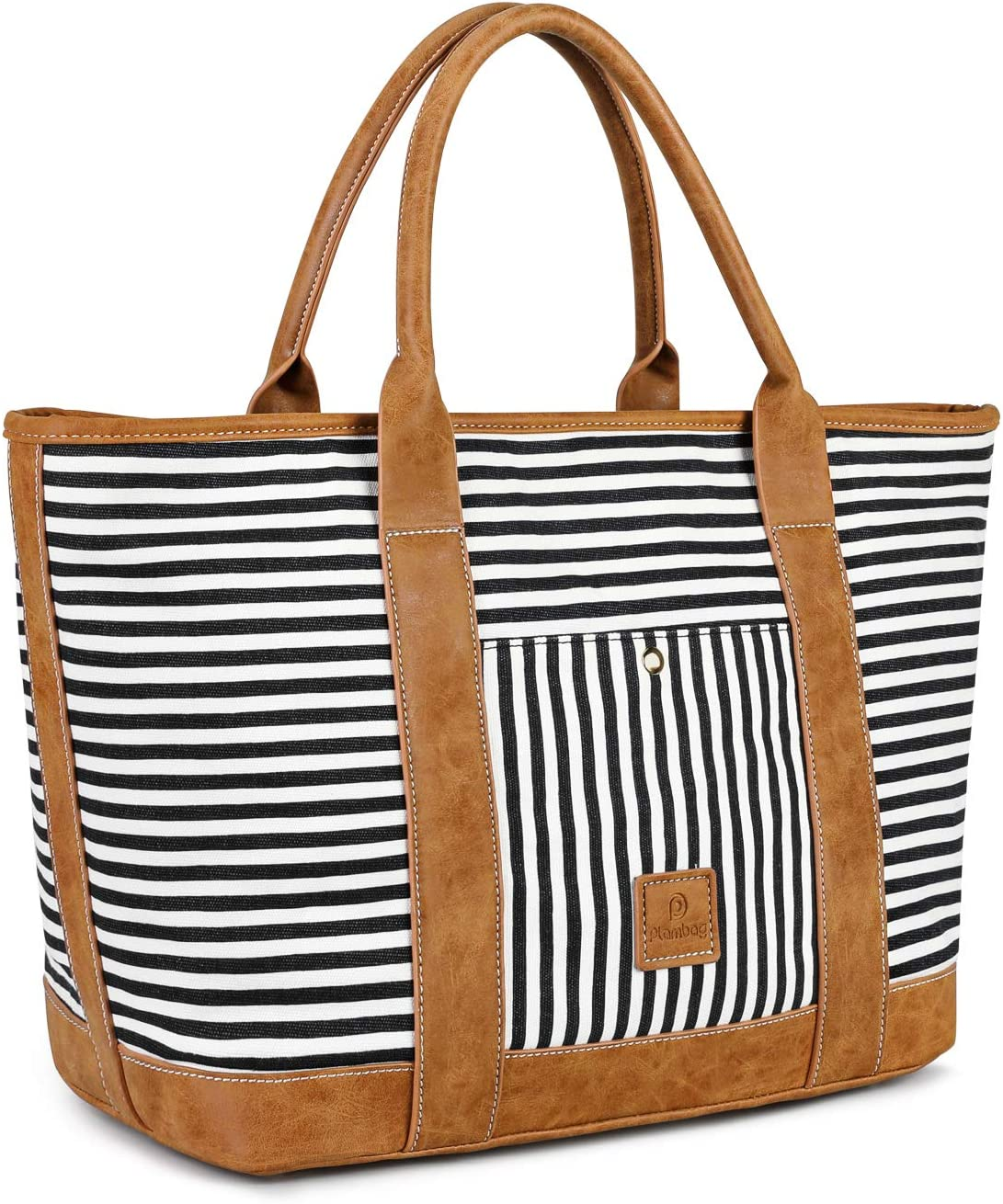 """Plambag Travel Tote bag for Women, Beach Shoulder bag, Large Water-repellent Canvas Stripe Shoulder Handbag, 15.6"""" Laptop Tote Bag(Black)"""