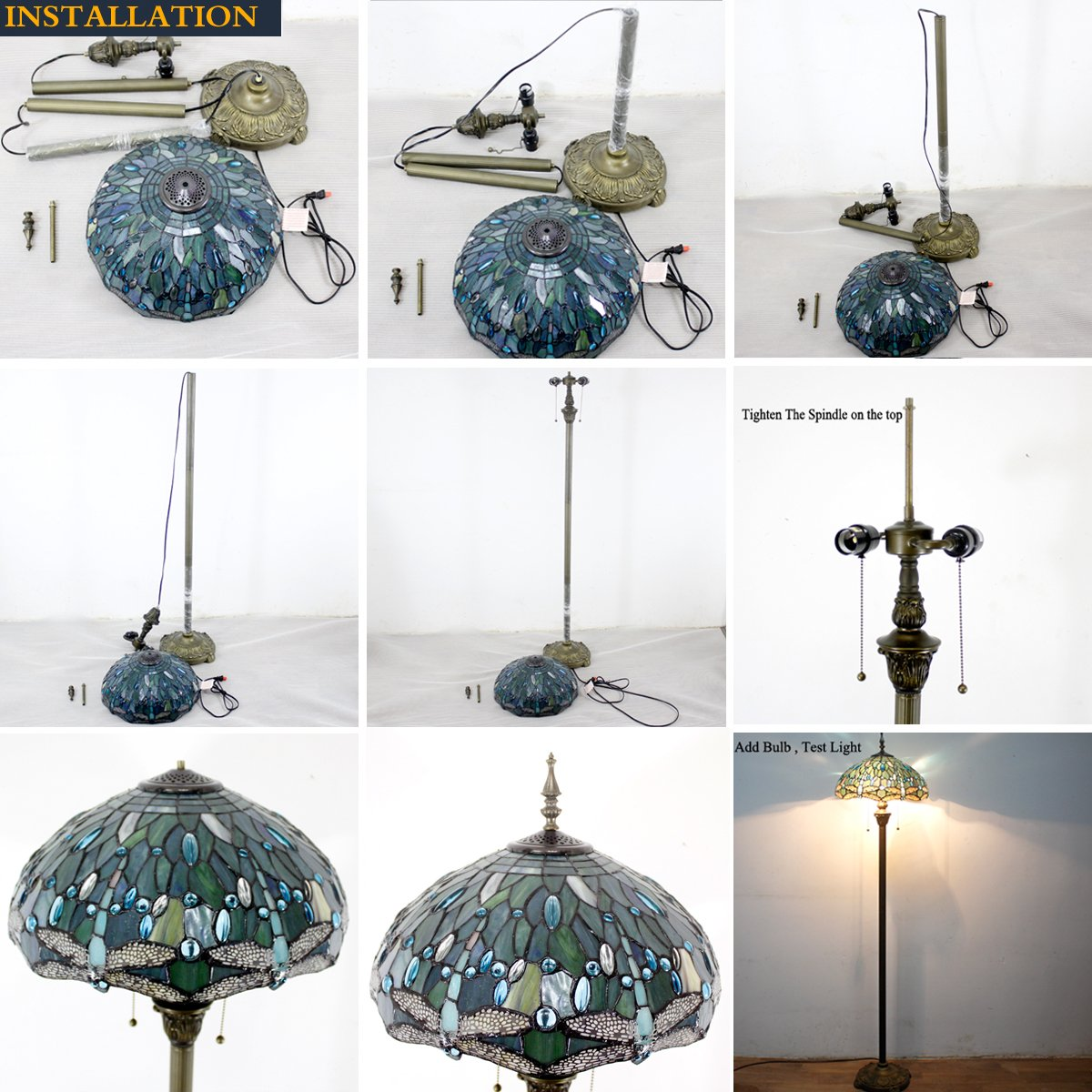 Tiffany Style Floor Standing Lamp 64 Inch Tall Sea Blue Stained Glass Shade Crystal Bead Dragonfly 2 Light Antique Base for Bedroom Living Room Reading Lighting Table Set S147 WERFACTORY