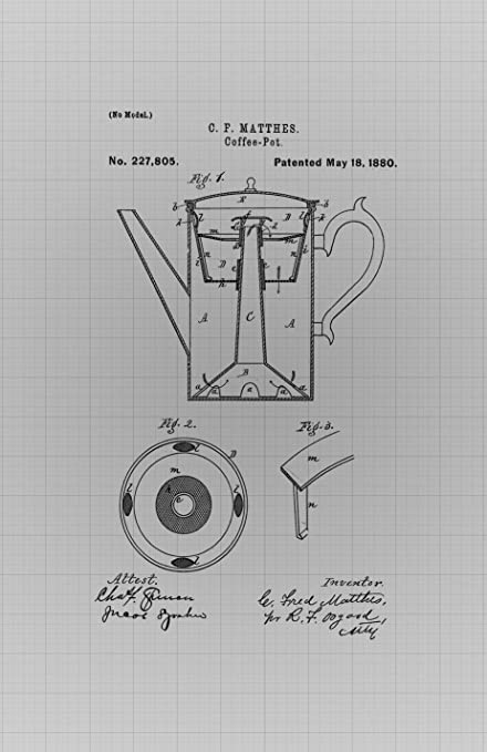 Amazon framable patent art the original poster art print framable patent art the original poster art print vintage coffee pot kitchen dcor 11in by 17in malvernweather Gallery