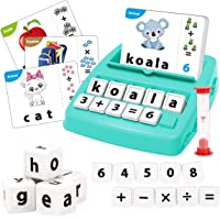 KaeKid Kids Learning Toys for 3 4 5 6 7 8 Year Olds, Matching Letter Spelling Games with 32 Flash Cards, Math Learning…