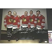 $199 » Stan Mikita Bobby Hull Tony Esposito Denis Savard Pierre Pilote Chicago Blackhawks Autographed Signed 16x20 JSA COA