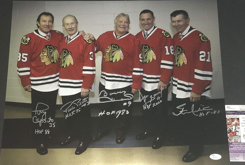 e88382fe0a9 Stan Mikita Bobby Hull Tony Esposito Denis Savard Pierre Pilote Chicago  Blackhawks Autographed Signed 16x20 JSA COA at Amazon s Sports Collectibles  Store