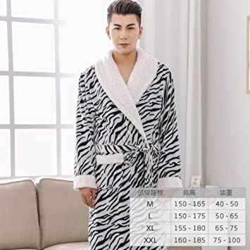 Pijama Hombres y Mujeres Albornoces Parejas Suave y Fluffy Acolchado Ropa de Dormir Franela Manga Larga