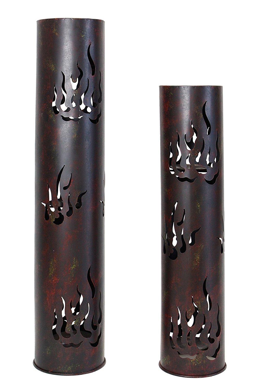 Frank Flechtwaren 229219té titular de la luz–Columna llamas conjunto de 2de metal lacada en mate negro y pátina en marrón, amarillo y rojo velas se puede quitar (altura de 80cm, 99cm)