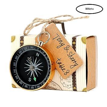 aerwo 50pcs travel themed compass favors 50pcs suitcase boxes vintage party favor
