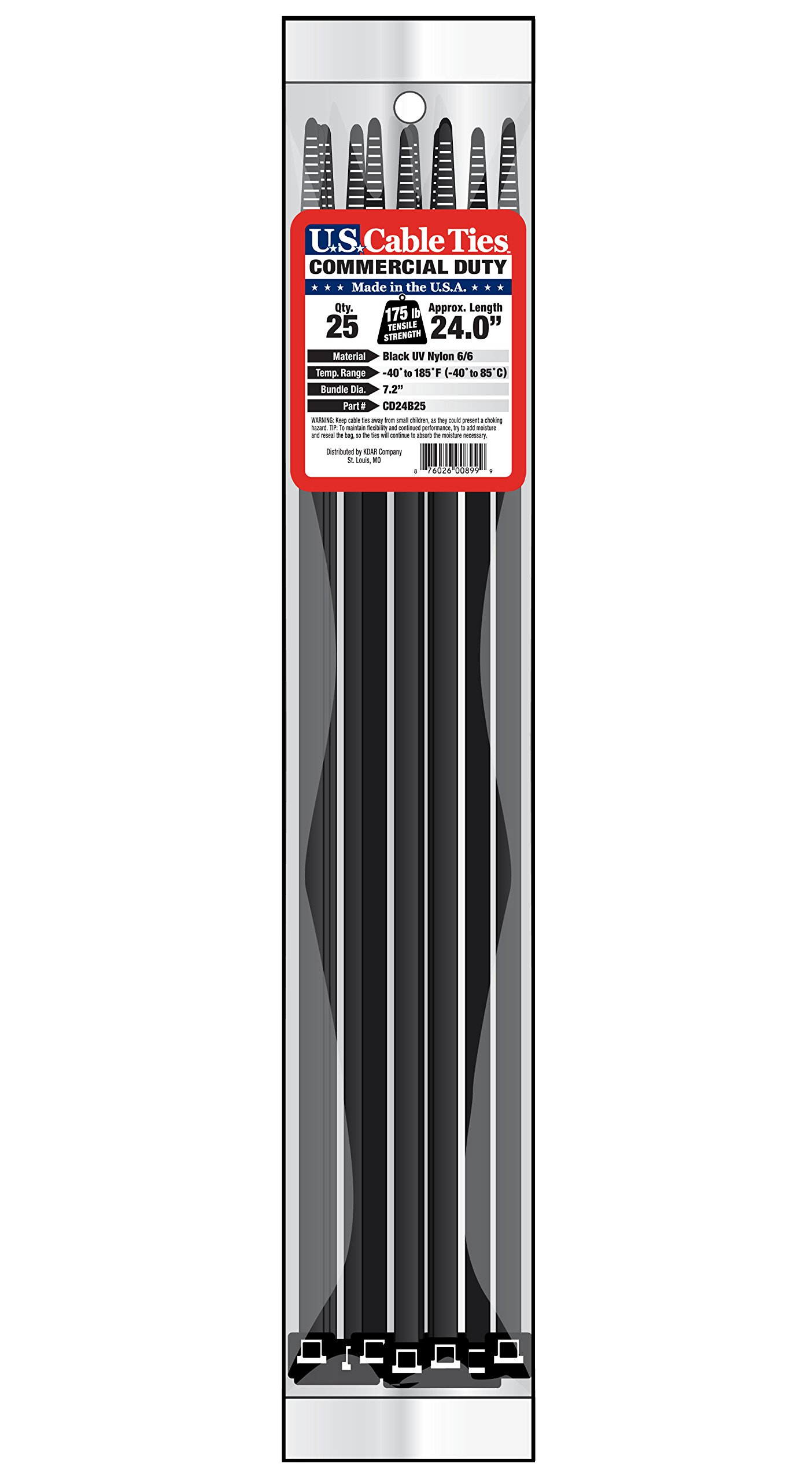 US Cable Ties CD24B25 24-Inch Commercial Duty Cable Ties, UV Black, 25-Pack