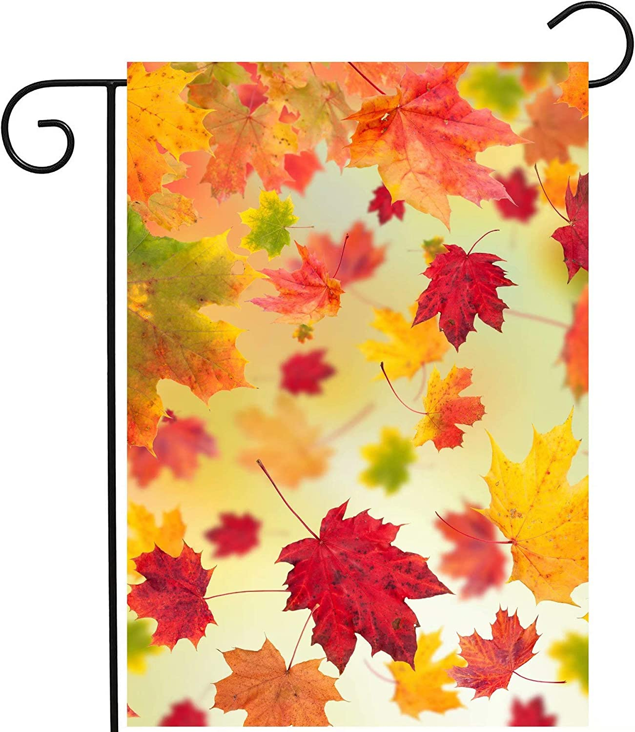 """ShineSnow Autumn Fallen Maple Leaves Fall Seasonal Scenery Garden Yard Flag 12""""x 18"""" Double Sided Polyester Welcome House Flag Banners for Patio Lawn Home Outdoor Decor"""