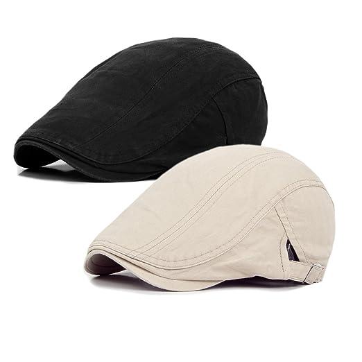 Qossi 2 Pack Men s Cotton Flat Cap Ivy Gatsby Newsboy Hunting Driving Hat 95505bc1b13f