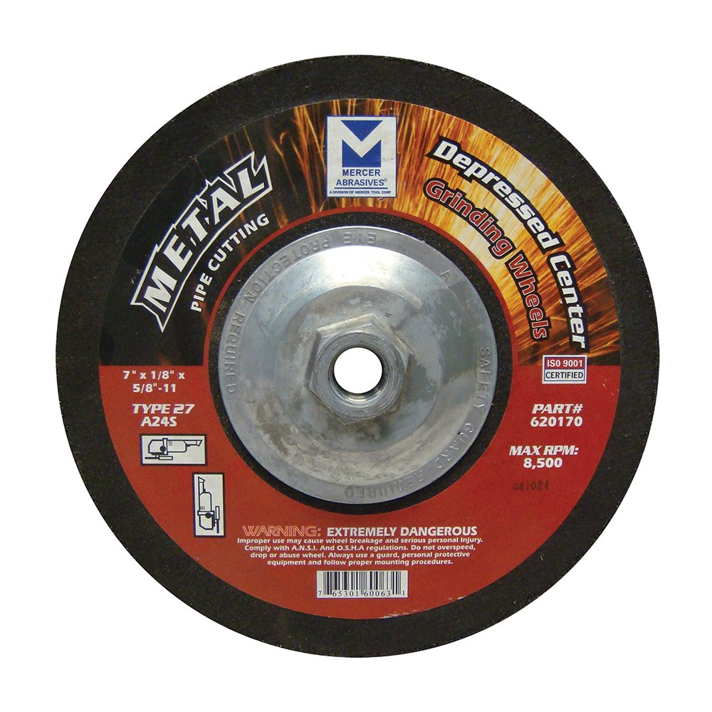 Mercer Industries 620170 Depressed Center Cutting and Light Grinding Wheel of Type 27 A24S 7' x 1/4' x 5/8'-11 Single Grit (10 Pack) Mercer Tool Corp. - Tools