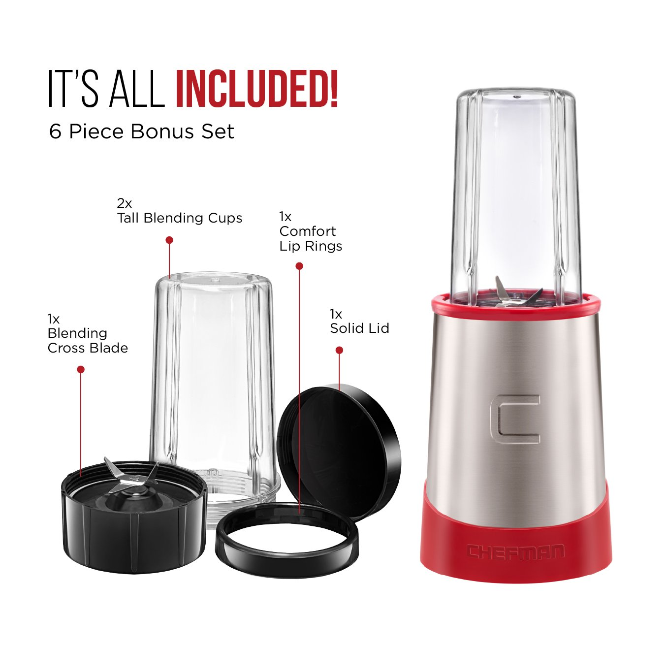 Chefman Ultimate Personal Smoothie Blender, Single Serve, Stainless Steel Blending Blade, 2 Travel Cups with Lids, Solid Storage Cover and Comfort Drinking Rim, 6 Piece - RJ28-6-SS-Red by Chefman (Image #4)